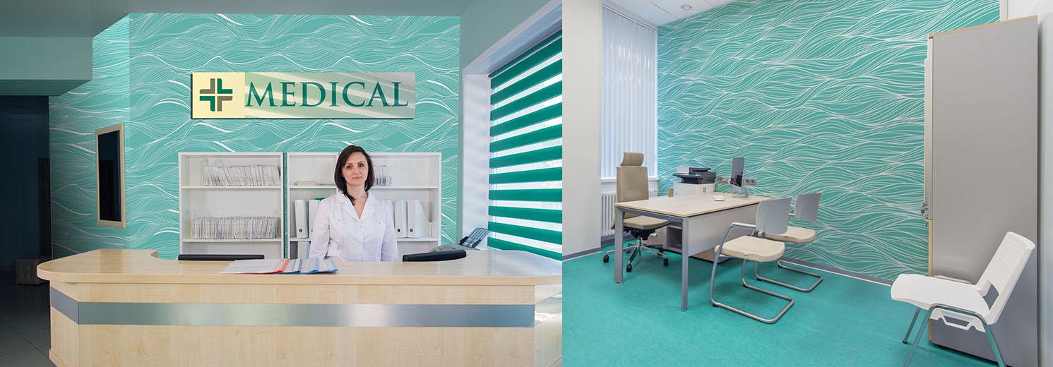 Fototapeta w przychodni lekarskiej - niebieskie fale