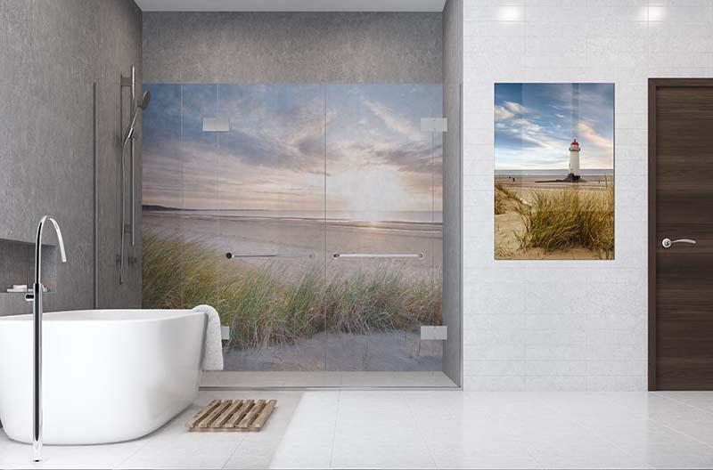 Panel szklany do łazienki - zachód słońca nad morzem