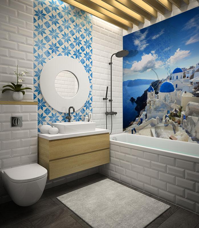 Panel szklany do łazienki z motywem greckiego miasta