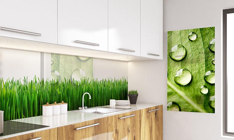 Panel szklany z motywem trawy do kuchni
