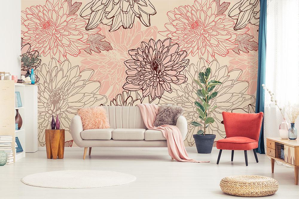 Fototapeta z dużymi kwiatami do salonu