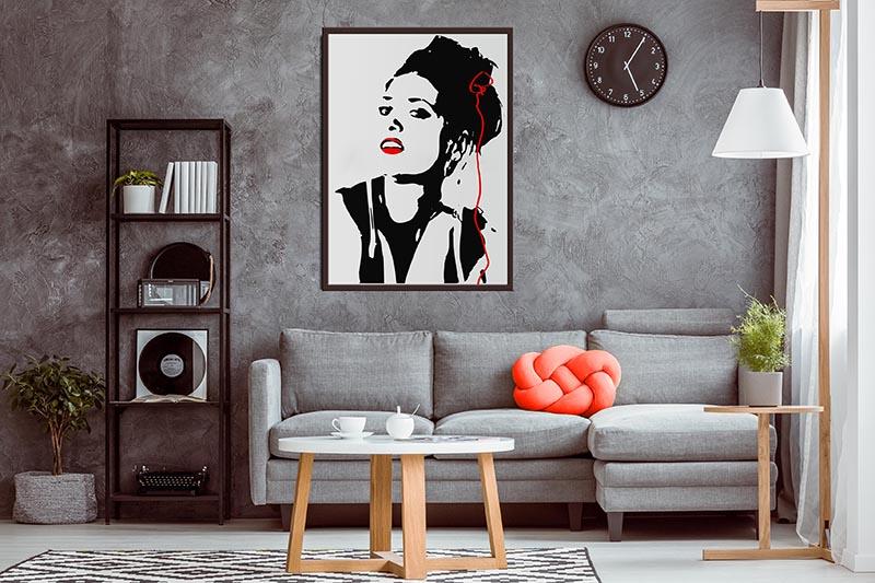 Obraz na płótnie z czarno-biały z akcentem - Portrete kobiety