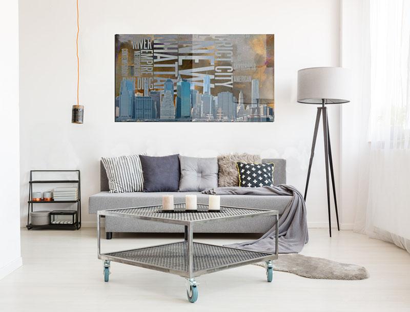 Obraz na szkle do salonu-grafika zmotywem miasta, panorama