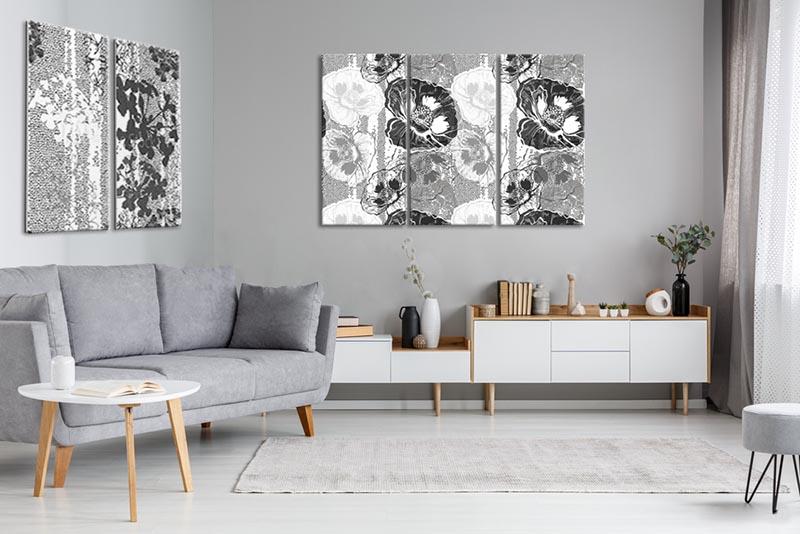 Obrazy tryptyk i dyptyk z motywem kwiatowym do salonu