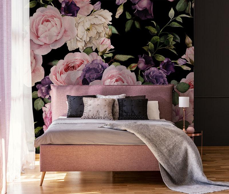 Fototapeta z różowymi kwiatami do sypialni
