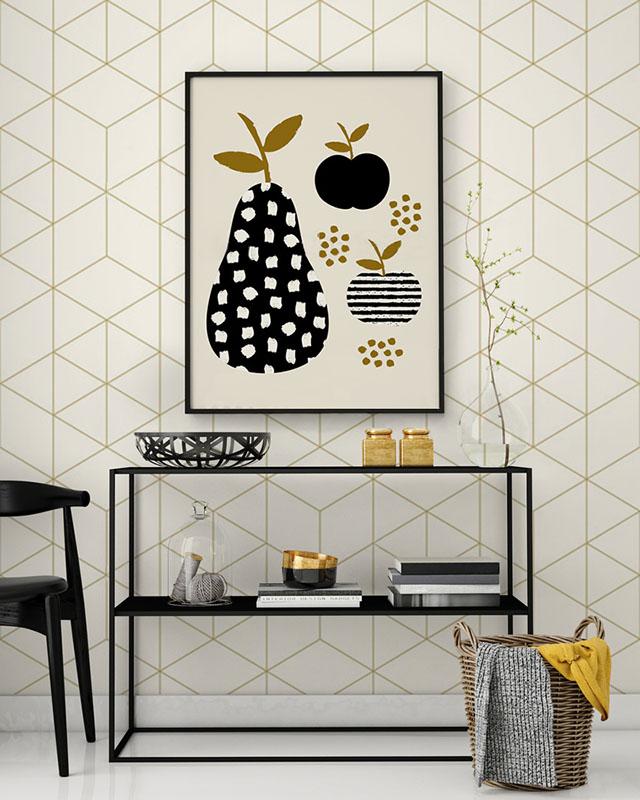 Nowoczesny salon - Fototapeta w geometryczne wzory w kolorze ciemnego złota