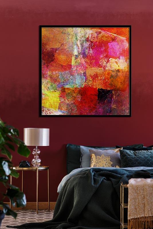 Obraz abstrakcyjny z mocną czerwienią