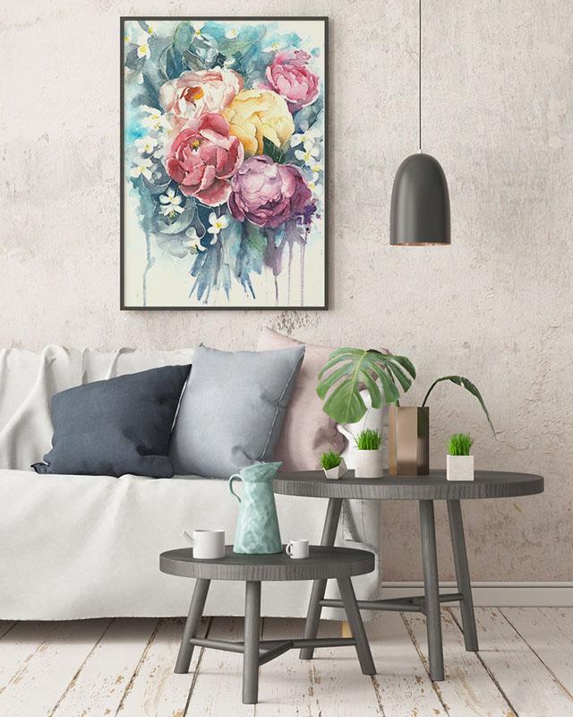 Obraz z peoniami
