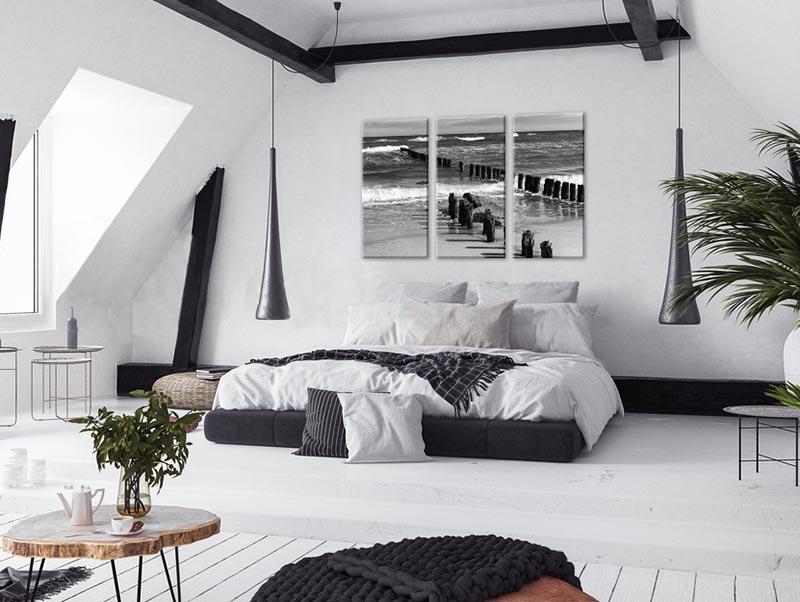 Obraz czarno-biały tryptyk - Morze Bałtyckie