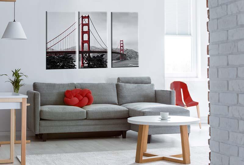 Obraz tryptyk z mostem Golden Gate