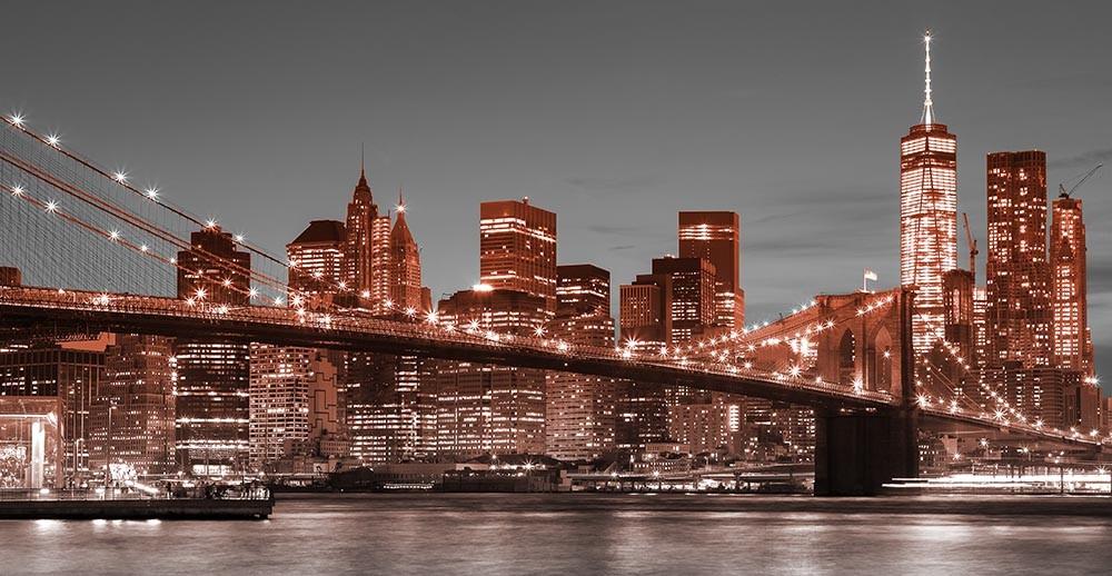 FototapetaFotografia czarno-biała z czerwonymi elementami - widok na Manhattan