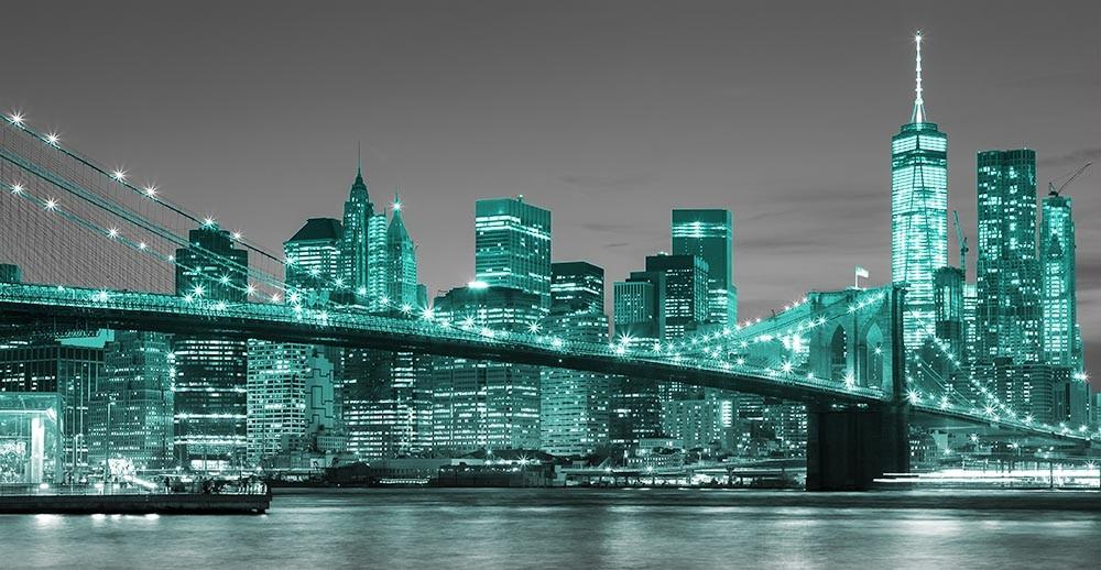 FototapetaFotografia czarno-biała z turkusowymi elementami - widok na Manhattan