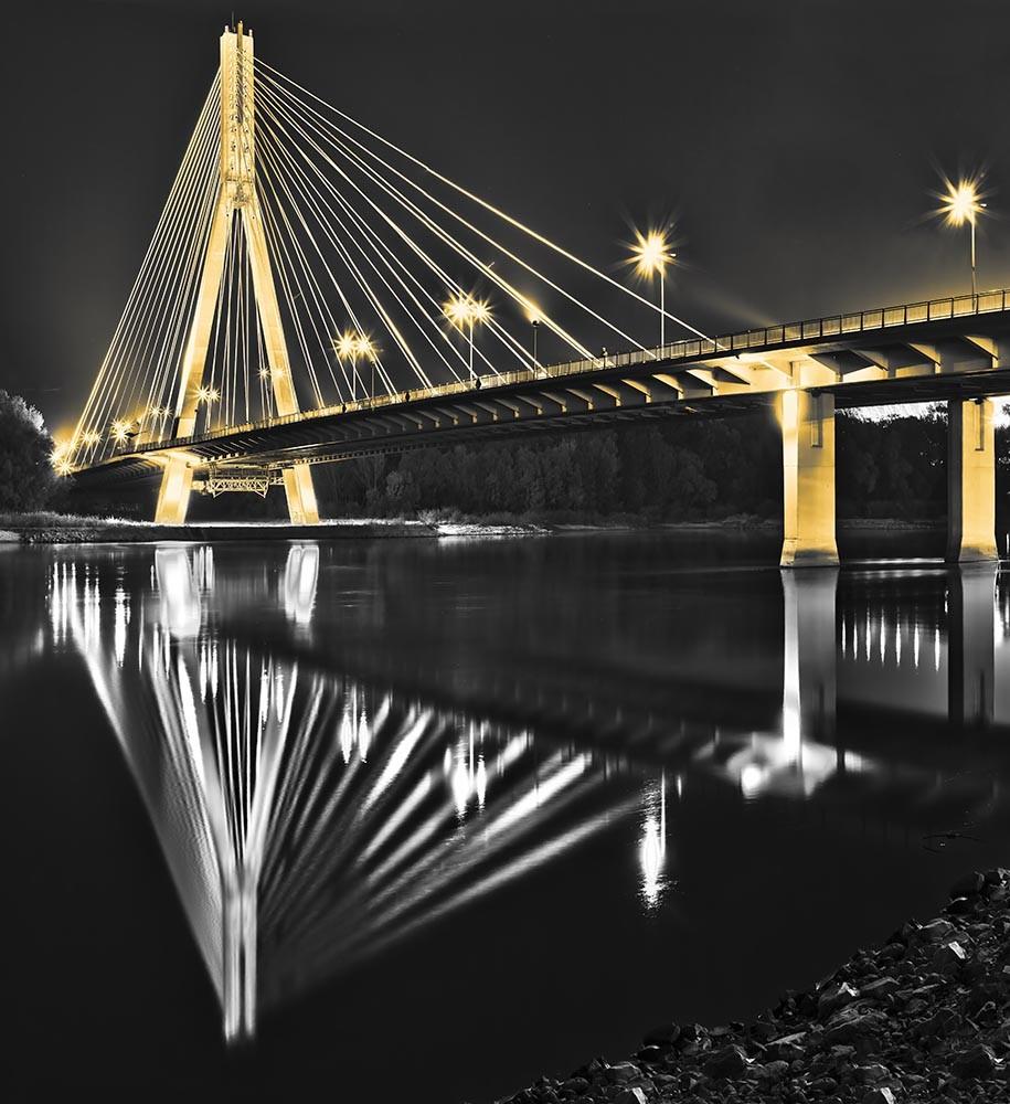 Fototapeta Czarno białe z kolorem Fotografia czarno-biała z żółtymi elementami - Most świętokrzyski