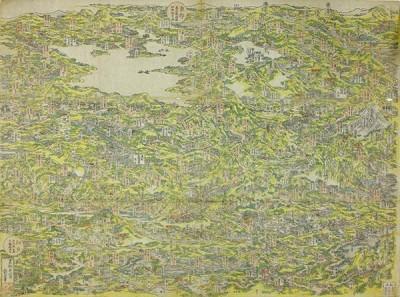 Fototapeta Hokusai Katsushika - Famous Places in the Kisokaidō Road in One View