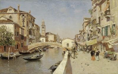 Fototapeta Martín Rico - River San Lorenzo with the Campanile of San Giorgio dei Greci, Venice
