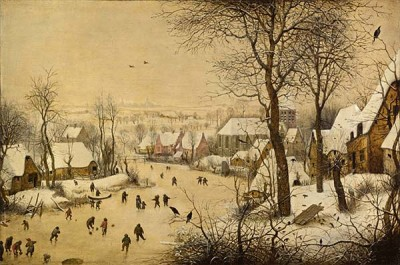 Fototapeta Reprodukcje na ścianę Pieter Bruegel - Winter Landscape with Skaters and Birds Trap