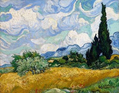 Fototapeta Vincent van Gogh - Pejzaż z cyprysem