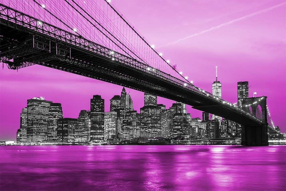 Fototapeta Czarno białe z kolorem Fotografia czarno-biała z różowym akcentem - Nowy York