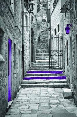 FototapetaFotografia czarno-biała z fioletowymi schodami