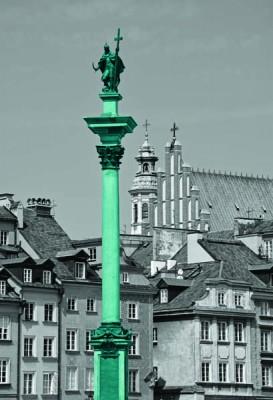 Fototapeta Fototapeta czarno-biała z turkusową kolumną Zygmunta