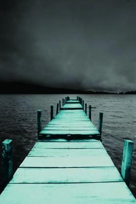 FototapetaFotografia czarno-biała z turkusowym molo