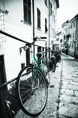 FototapetaFotografia czarno-biała z turkusowym rowerem