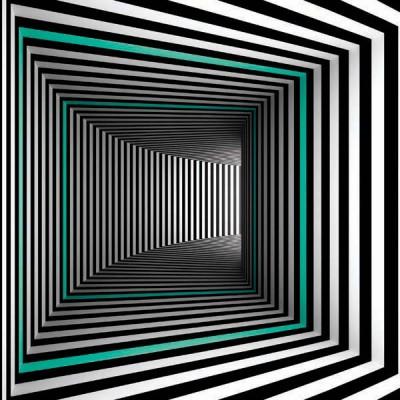 FototapetaGrafika czarno-biała - tunel z turkusowym akcentem