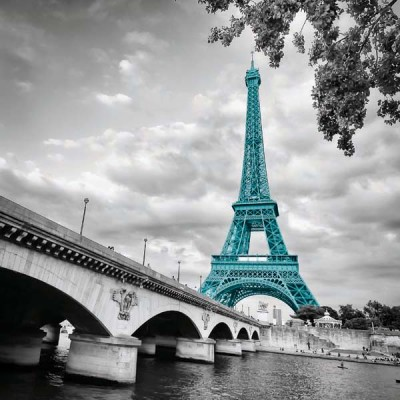 FototapetaFotografia czarno-biała z turkusową Wieżą Eiffla