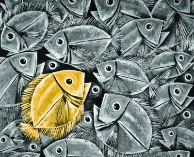 FototapetaGrafika czarno-biała z żółtą rybką