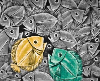 FototapetaGrafika czarno-biała z turkusową i żółtą rybką