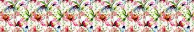 Fototapeta Kolorowe kwiaty malowane akwarelą