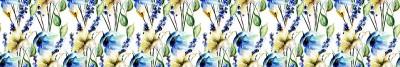 Fototapeta Niebieskie kwiaty malowane akwarelą