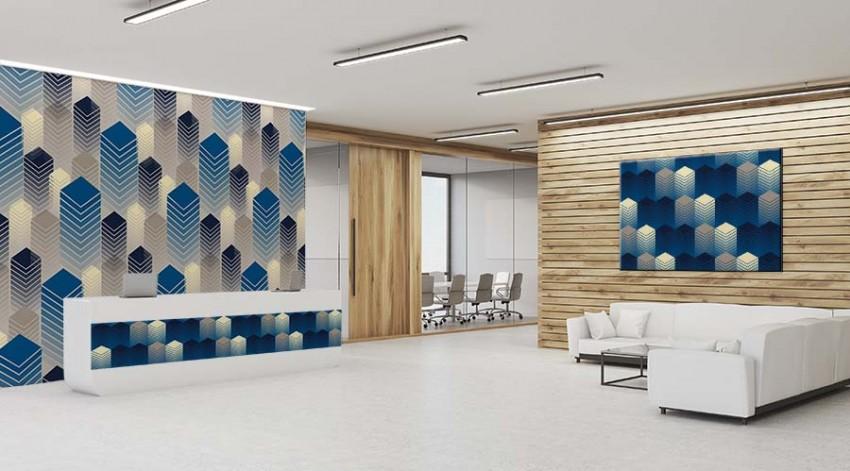 Fototapeta do biura - abstrakcja geometryczna, budynki