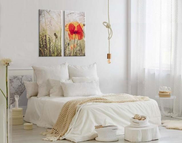 Obraz dyptyk z makiem na łące do sypialni