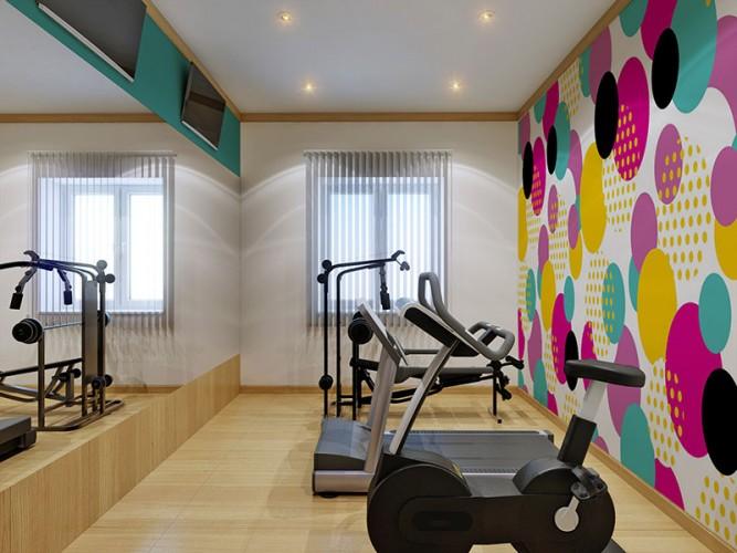 Fototapeta z kolorowym wzorem geometrycznym do sali kardio w klubie fitness