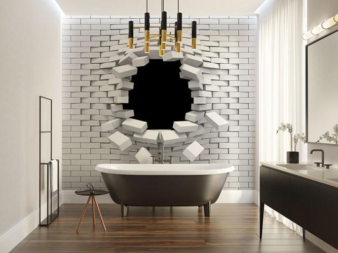 Fototapeta z motywem dziury w ścianie z efektem 3d