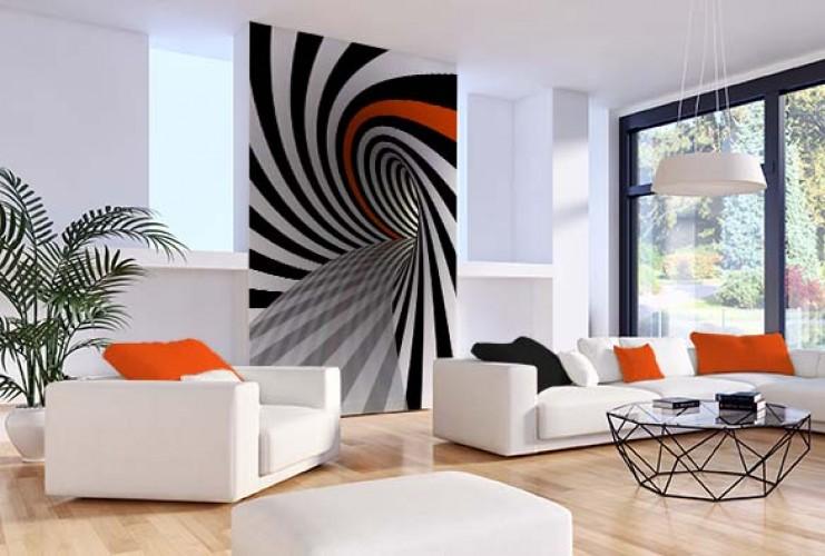 Fototapeta 3d - czarno-biała spirala z pomarańczowym akcentem