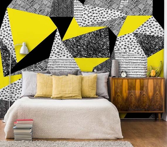 Fototapeta z żółto-czarnym wzorem geometrycznym