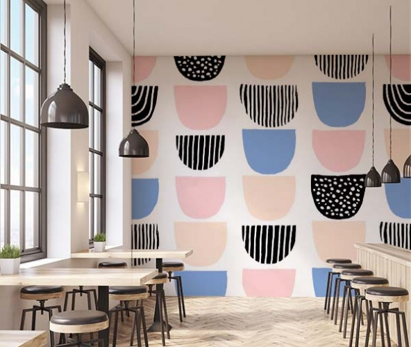 Fototapeta z miskami w pastelowych kolorach do baru mlecznego