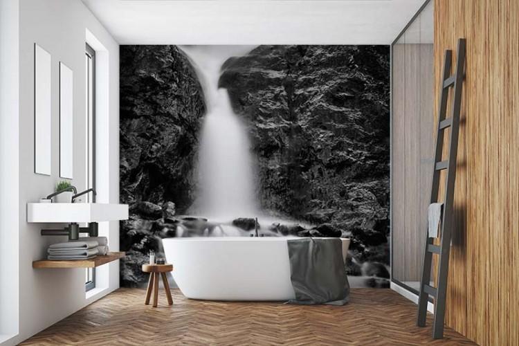 Fototapeta czarno-biała z wodospadem