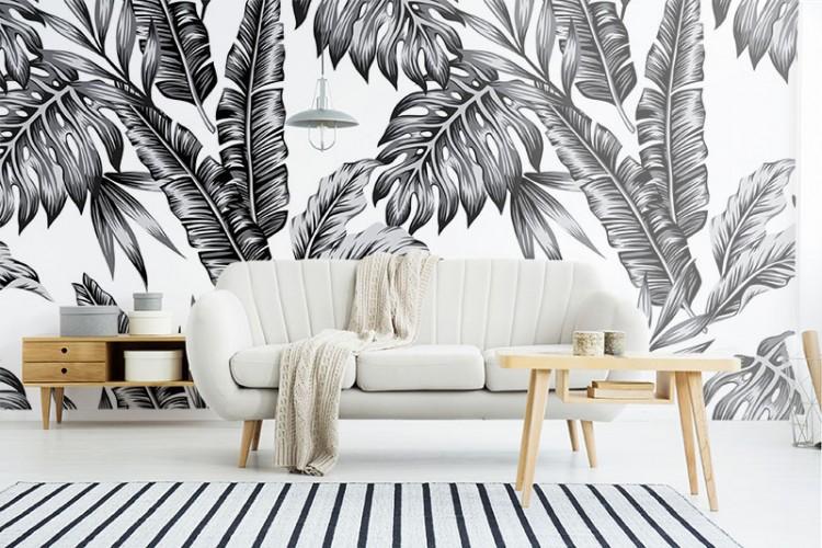 Fototapeta czarno-biała z tropikalnymi liśćmi