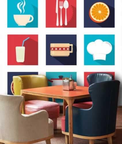 Fototapeta do bistro z motywem ikon o tematyce kulinarnej