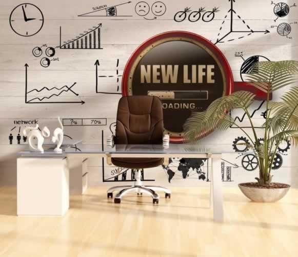 Fototapeta do biura z motywem kubka kawy i wykresów
