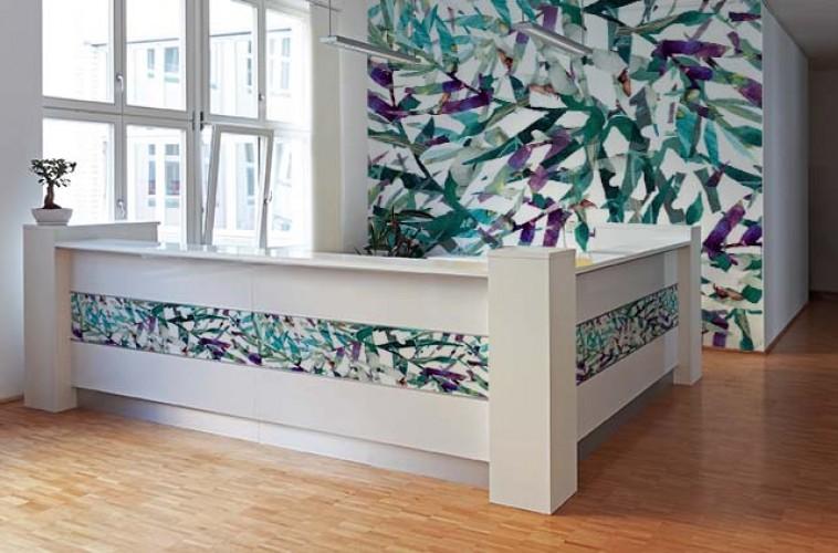 Fototapeta do recepcji - abstrakcja, liście malowane akwarelą
