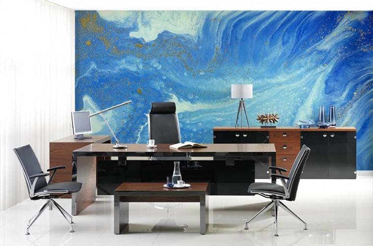 Fototapeta do biura - tekstura w odcieniach koloru niebieskiego malowana akwarelą
