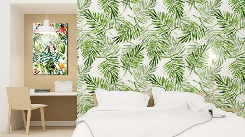 Fototapeta do pokoju hotelowego z motywem liści palmy
