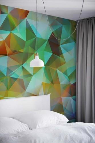 Fototapeta do pokoju hotelowego ze wzorem geometrycznym w modnych kolorach