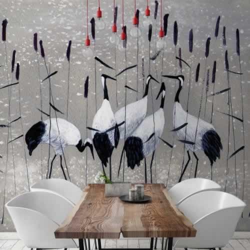 Fototapeta do jadalni z żurawiami
