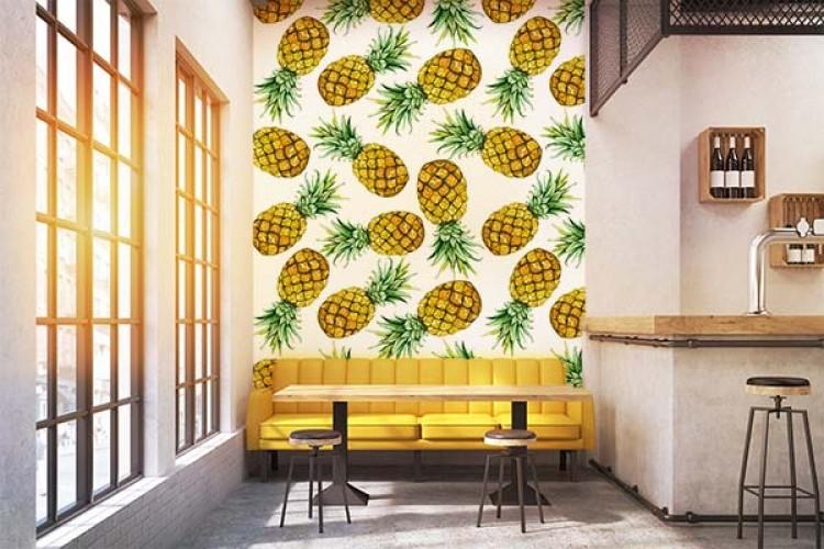 Fototapeta z ananasami do koktajl baru
