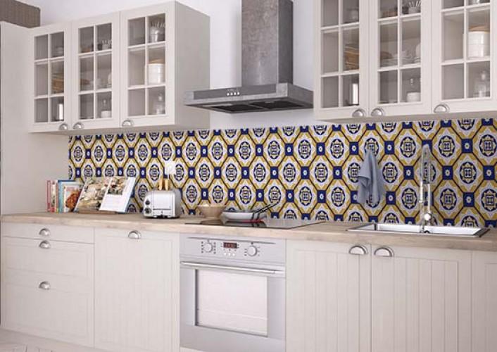 Fototapeta do kuchni z motywem płytek ceramicznych azulejos